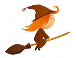 flying halloween cartoon witch on the broom u2014 stock vector