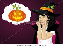 halloween beautiful woman hat witch costume stock vector 717236440