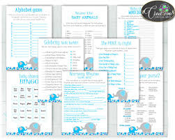 baby shower boy games package bundle printable with aqua blue and