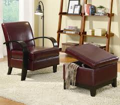 Brown Leather Accent Chair Bentwood Brown Leather Accent Chair With Storage Ottoman By