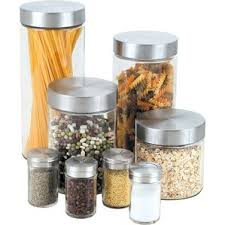 glass kitchen canister set glass bathroom canisters wayfair