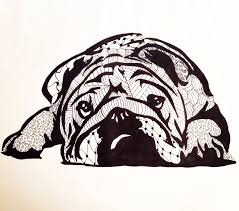 zentangle design of an english bulldog by rachelhobbs on deviantart