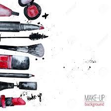 vector watercolor glamorous make up set of cosmetics with nail
