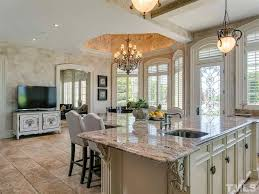 traditional kitchen with complex granite counters u0026 flush in