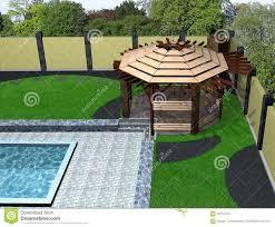 patio terraced landscaping 3d render stock illustration image