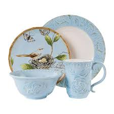 fitz and floyd 4 toulouse dinnerware set blue 8211916 hsn