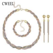 vintage wedding necklace images Cweel vintage wedding gold color 3 color necklace set statement jpg