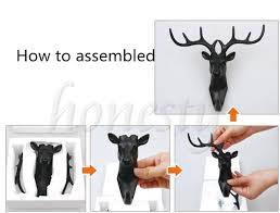 animal deer stags head hook wall hanger rack holder resin art home