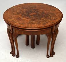 antique burr walnut nesting coffee table 301759