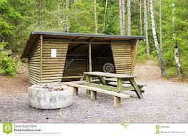 trail shelter in tyresta national park sweden stock photo image