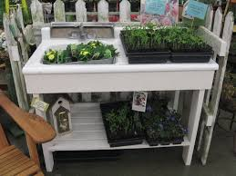 potting table with sink inset sink garden potting table bench ideas tables ukith sink