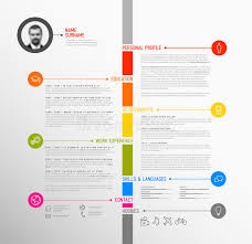 Colorful Resume Templates Free Vector Timeline Minimalist Cv Resume Template Stock Vector