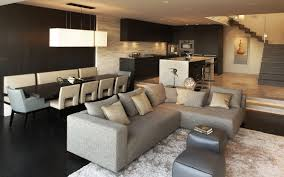 Wooden Sofa Cushions In Bangalore White Hang Lamp Open Plan Apartment Design With Grey Sofas And