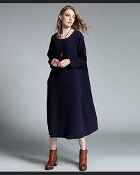 2016new autumn winter women cotton linen loose dress long sleeve