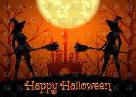halloween castle background halloween background with silhouettes of witches guards and