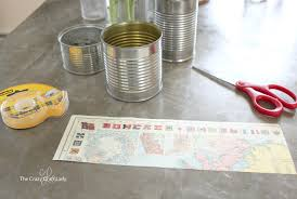 Tin Vases Tin Can Vases Upcycling With Map Paper The Crazy Craft Lady