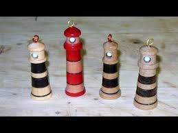 turning a lighthouse tree ornament