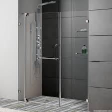 Frosted Glass Shower Door by Frosted Glass Shower Door Beige Wall Tiles Built In Shelf Bronze