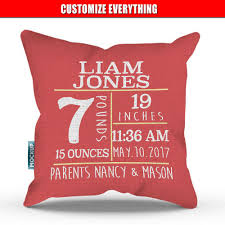 personalized pillows for baby personalized baby announcement throw pillow cover 18 x 18