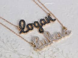 gold script name necklace two name necklace layered name necklace diamond name