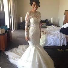 gorgeous mermaid long sleeve lace wedding dresses 2017 sheer