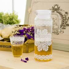 Decorate Water Bottle New 2014 Zakka Lace Transparent Glass Of Cold Water Bottle