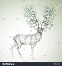 deer antlers like christmas tree surreal stock vector 116392006