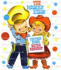 vintage kids retro kitsch cowboys cowgirls texas wild wild west