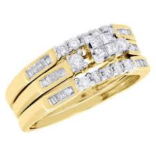 yellow gold bridal sets 10k yellow gold princess cut diamond wedding ring band 3