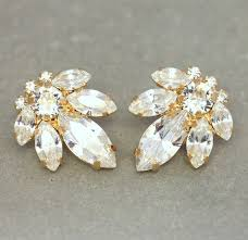 cluster stud earrings bridal stud earrings swarovski earrings white