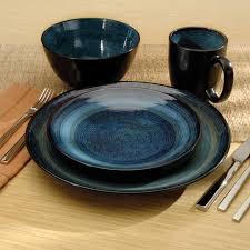 oneida adriatic stoneware dinnerware set of 16 blue