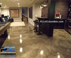 Cheap Basement Flooring Ideas Basement Flooring Metallic Epoxy Finish Stained Concrete