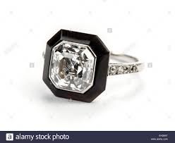 art deco asscher cut diamond and onyx ring stock photo royalty