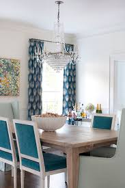 white and blue dining chairs with acai dining table transitional