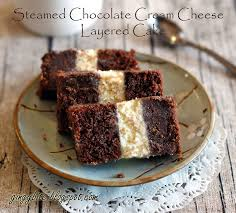 steamed chocolate cream cheese layered cake recipe desserts with