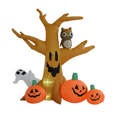 lighted halloween pumpkins homcom halloween inflatable tree w pumpkins led lights aosom co uk