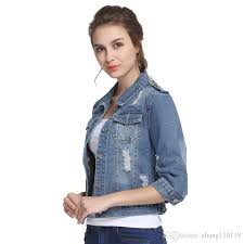 light wash denim jacket womens plus size 5xl 6xl summer denim jacket women 2018 three quarter slim