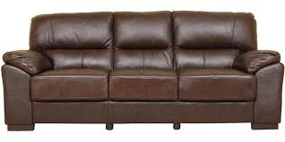 Buy Martin Leather Three Seater Sofa In Brown Colour By HomeTown - Sofa in leather