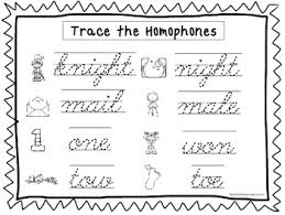 cursive trace the homophones worksheets kdg 2nd grade handwriting