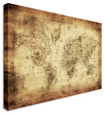 World Map Wood Wall Art by Large World Map Vintage Printed Canvas Wall Art Pictures Ebay