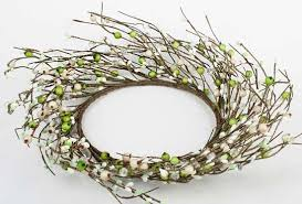 apple green white and clear bead berry candle ring wreath pip
