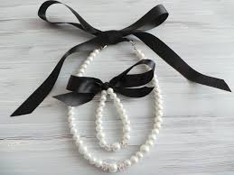 pearl necklace with ribbon images Black flower girl jewelry set pearl necklace bracelet set satin jpg