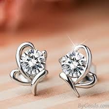 stylish earrings stylish shining diamond butterfly zircon silver insect earring