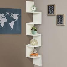 Corner Wall Shelves Large Corner Wood Zig Zag Wall Shelf White Finish Home Decor