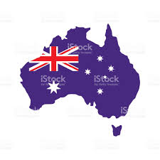 australia map with the image of the national flag stock vector art