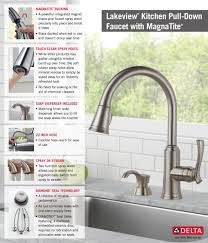 Pull Down Faucet Kitchen by Delta Lakeview Single Handle Pull Down Sprayer Kitchen Faucet With