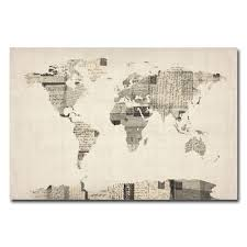 World Map Canvas Amazon Com Trademark Fine Art Vintage Postcard World Map By