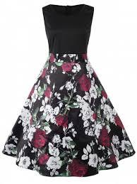 valentines dress black 5xl valentines day roses print sleeveless flare dress