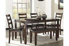 Coviar Dining Room Table And Chairs With Bench Set Of  Ashley - Ashley furniture dining table bench