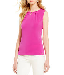 ivanka blouse ivanka pleated keyhole bar neck matte jersey shell dillards
